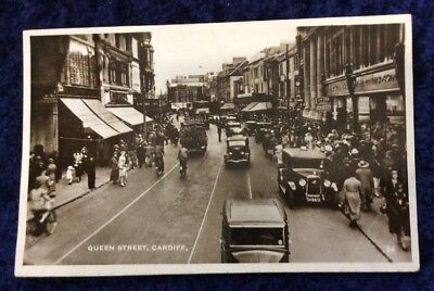 Real Photographic Postcard RPPC of Queen Street, Cardiff. Active - Austin JH8412