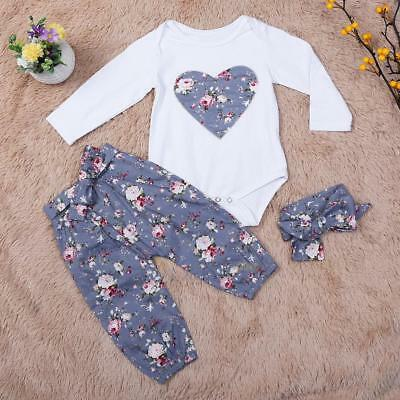 3PCS Newborn Toddler Baby Girl Clothes Playsuit Romper Pants Bodysuit Outfit Set