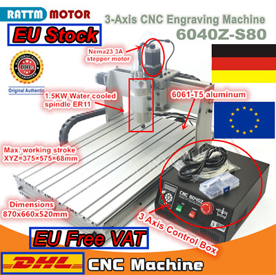 【DE Stock】 3 Axis 1.5KW 1500W 6040 CNC Router Engraving Milling Drilling Machine