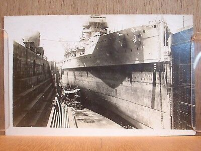 postcard warship ? in dry dock ? date unknown.