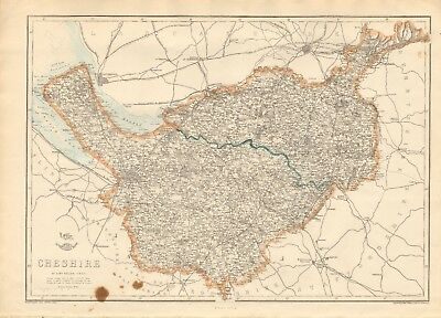 1863  Large Antique Map - Dispatch Atlas-Cheshire