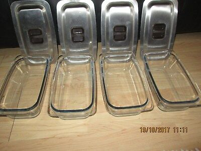 4 x HOSTESS  TROLLEY/BUFFET REPLACEMENT GLASS DISH WITH LIDs