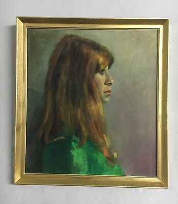 Large Vintage Oil Painting Of A Woman In Gold Gilt Frame