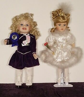 Porcelian Hand Painted Ballerina Doll And Kelsey The Toddler Ice Skater.