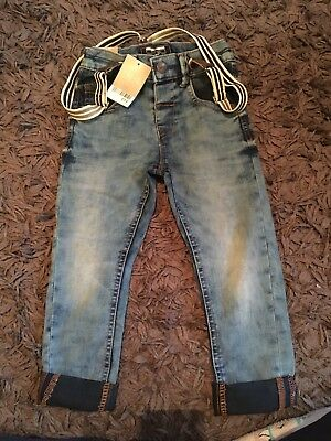 Next Boys Jeans 2-3 Bnwt With Removable Braces