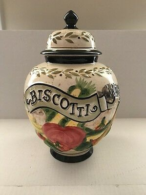 "Nonni's Biscotti Cookie Jar Hand Painted Fruit With Lid 12"" Tall x 9"" Wide"