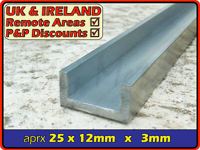 "Aluminium Channel (C U section, gutter, profile,ally,alloy) | 1"" x 1/2"""