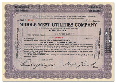 Middle West Utilities Company Stock Certificate (Insull Empire)