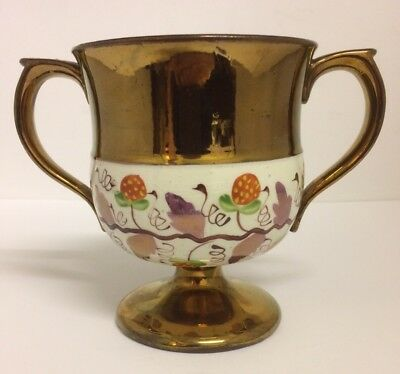RARE Victorian Staffordshire Copper Lustre Twin Handled Goblet, Loving Cup c1840