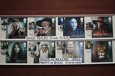'MAGICAL REALMS'.8 FIRST DAY Postcards on FRONT, 8/3/11 CardsFrom Royal Mail..