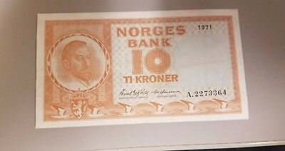 Norway 10 Korona 1971  Nice Crisp Shape