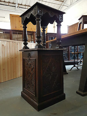 Antique Carved Oak Plant Stand with Coal Compartment
