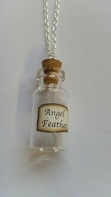 angel feather message in a bottle necklace + gift bag gse3