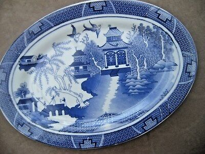 Willow Pattern Oval Plate. No base mark.