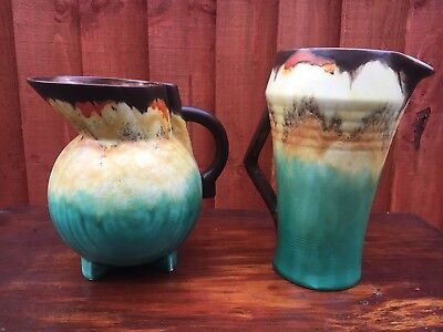 Pair Of Original Art Deco Jugs, Ruskin, Shelly??