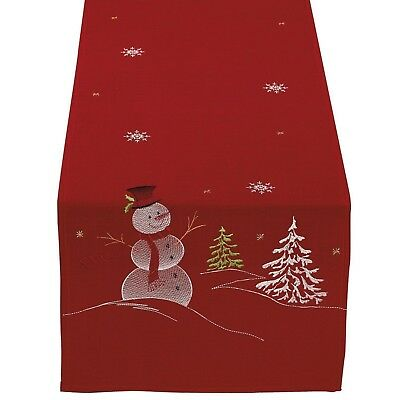 """DII 100% Polyester, Christmas Holiday Embroidered Table Runner 14 x 70"""", Snowman"""