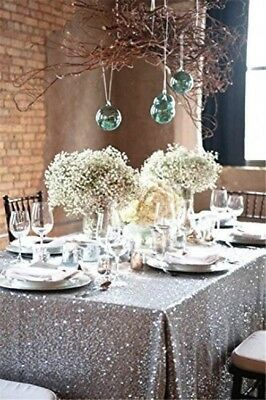 """TRLYC 50""""*85"""" Party Silver Table Cloth Sequin Tablecloth for Wedding"""
