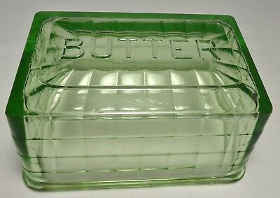 1930's Hocking Green Depression Glass BLOCK OPTIC Covered Butter  TOP ONLY