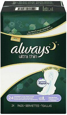 Always Ultra Thin Extra Heavy Overnight Pads With Flexi-Wings, 24 Ct