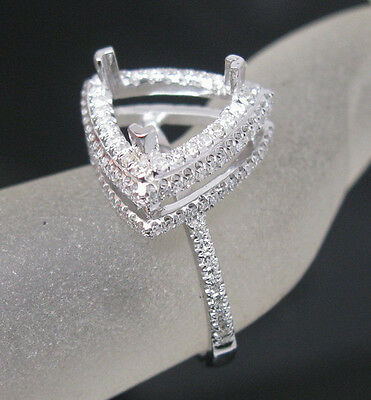 Trillion 9mm Solid 18K White Gold Natural Diamond Semi Mount Engagement Ring