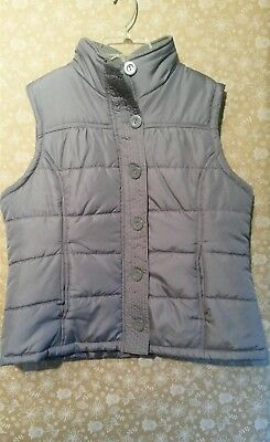 Outer Edge Womens Quilted Puffer Vest Sz Xl Nwot Gray Silver  Zip And Button