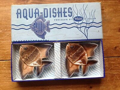 Vintage Pair Of Boxed Wade Aqua Dishes Angel Fish Bathroom - Excellent Condition