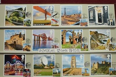 'A to Z of UK.Pt.1'. 12 FIRST DAY Postcards On FRONT 13/10/11 Royal Mail Cards
