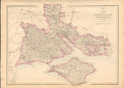 1863  Large Antique Map - Dispatch Atlas- Hampshire, South Division, Isle Of Wig