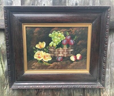 Large Antique Oil Painting Roses And Fruit In Gold Gilt And Oak Frame, Signed