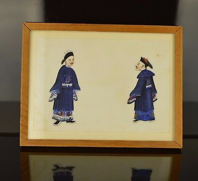 A Small Chinese 19Th Century Rice Paper Painting With Officials