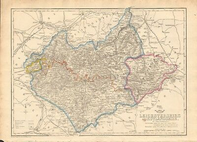 1863  Large Antique Map - Dispatch Atlas- Leicestershire And Rutlandshire