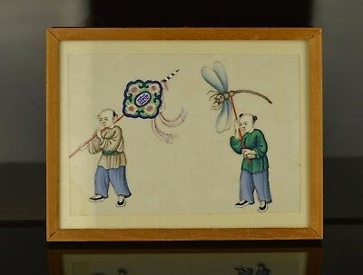 A Small Chinese 19Th Century Rice Paper Painting With Men & Kites