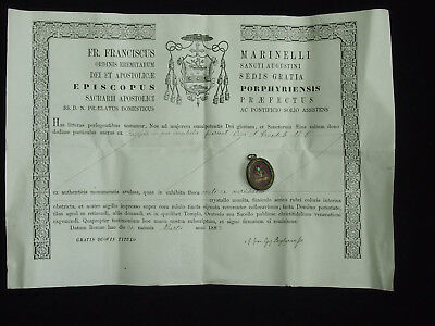 19th RELIQUARY, RELIC S. BENEDICTI Ab, WITH DOCUMENT SEALED WAX SEAL - 1882 -