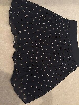 Zara Polka Dot Skirt Black Pleated