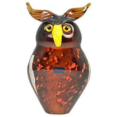 Oswald Glass OWL ORNAMENT Brown Handmade Crystal Small Imperfections ORNAMENTS
