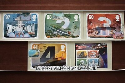 'THUNDERBIRDS'. 11 FIRST DAY Cards On FRONT. 11/1/11 Royal Mail Post Cards