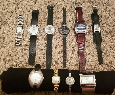 10 pc watch lot Fossil, DNKY, Guess, Jlo & Peire Bernie euc need batteries