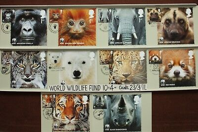 'WORLD WILDLIFE FUND'. 15 FIRST DAY Cards FRONT.23/3/11 Royal Mail Post Cards