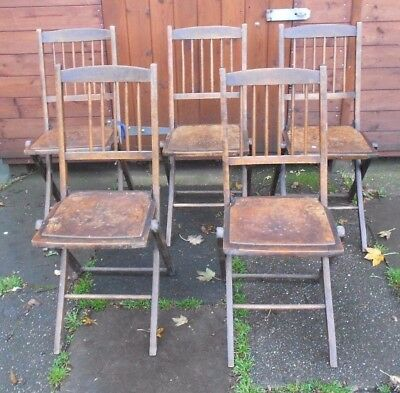 Vintage Wooden Folding Church Chairs