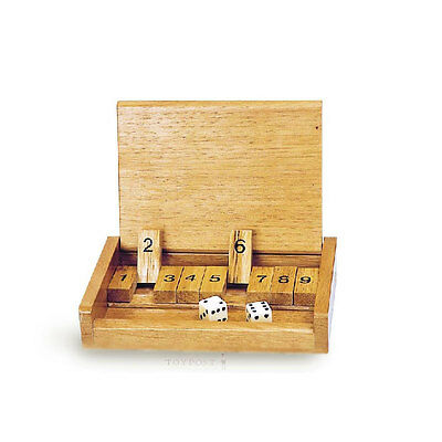 Shut the Box wooden pocket size dice skill board game toy traveller's version