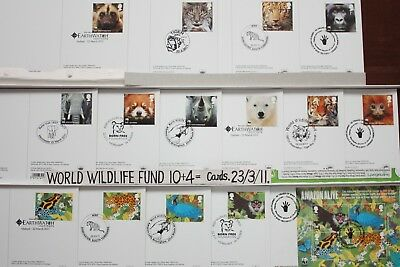 'WORLD WILDLIFE FUND'. 15 FIRST DAY Cards BACK. 23/3/11. Royal Mail Post Cards