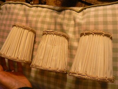 Pretty Set Of 3  Vintage French Silk ? Small Light Shades Cream