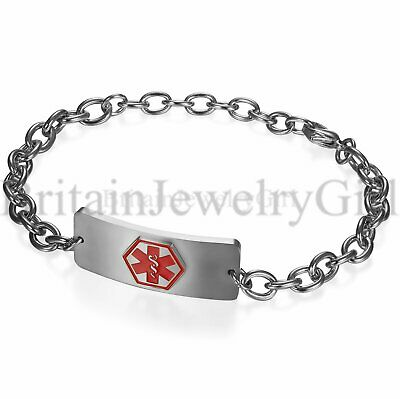 Free Engraving Stainless Steel Medical Alert ID Chain Bracelet for Men Women