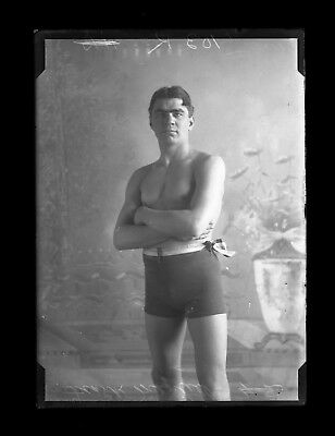 1900s Boxer Frank Mantell Posing Original Glass Plate 5x7 Negative by Dana