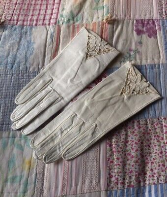 Vintage Immaculate Ivory Cream Italian Leather Ladies Gloves Wedding Small 6.5