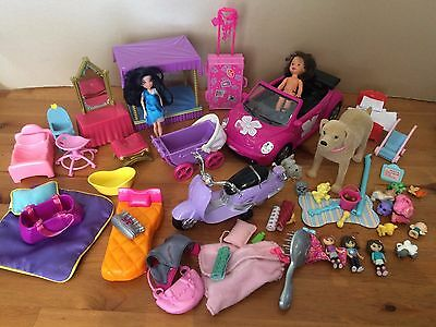 bundle of small dolls,toys - car,furniturebarbie dog tanner,accessories etc jobl