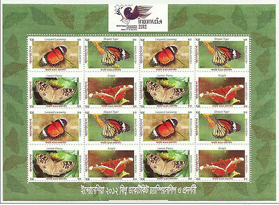 Bangladesh Mnh 2012 Indonesia Wolrd Stamp Championship Exhibition Butterflies