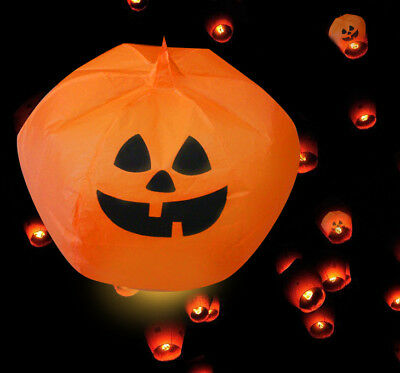 1Pcs Outdoor Halloween Pumpkin Sky Lanterns Paper Sky Fire Candle Fly Party Lamp