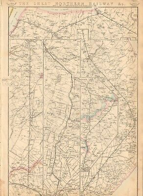 1863  Large Antique Map - Dispatch Atlas- Great Northern Railway, Lincolnshire