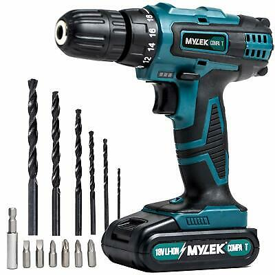 18V Cordless Drill Driver Set Combi Lithium Ion Screwdriver LED Worklight Mylek